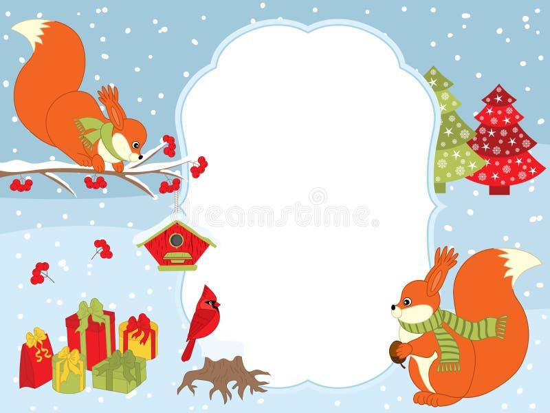 Vektorjul och kortmall för nytt år med ekorrar, kardinalen, gåvaaskar och voljärer på snöbakgrund royaltyfri illustrationer