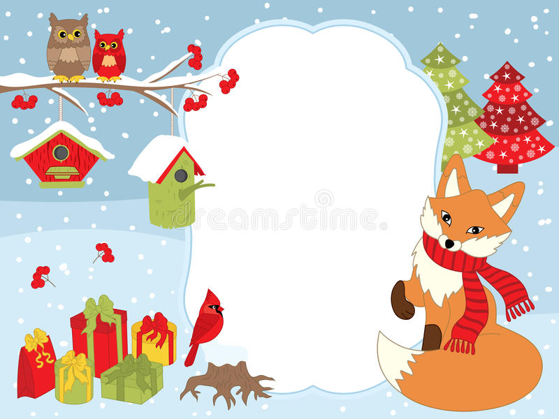 Vektorjul och kortmall för nytt år med en räv, ugglor, kardinalen, voljärer och gåvaaskar på snöbakgrund vektor illustrationer