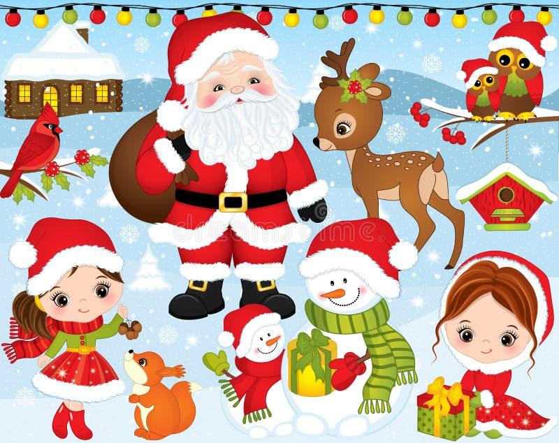 Vektorjul och uppsättning för nytt år med jultomten, små flickor, hjortar, ugglor och vinterbeståndsdelar stock illustrationer