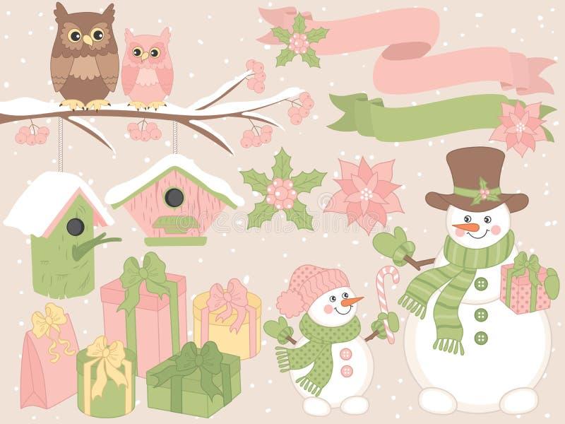 Vektorjul och uppsättning för nytt år med snögubbear, ugglor och festliga vinterbeståndsdelar stock illustrationer