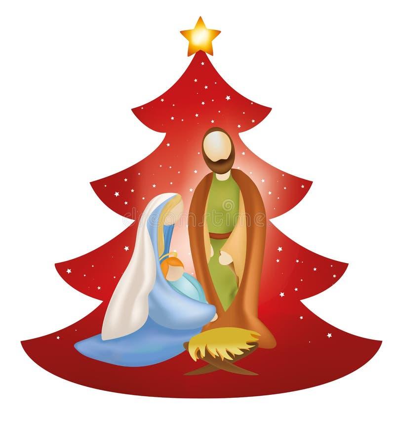 Vektorjulgranjulkrubban med Joseph och behandla som ett barn Jesus i armar för Mary ` s på röd bakgrund royaltyfri illustrationer