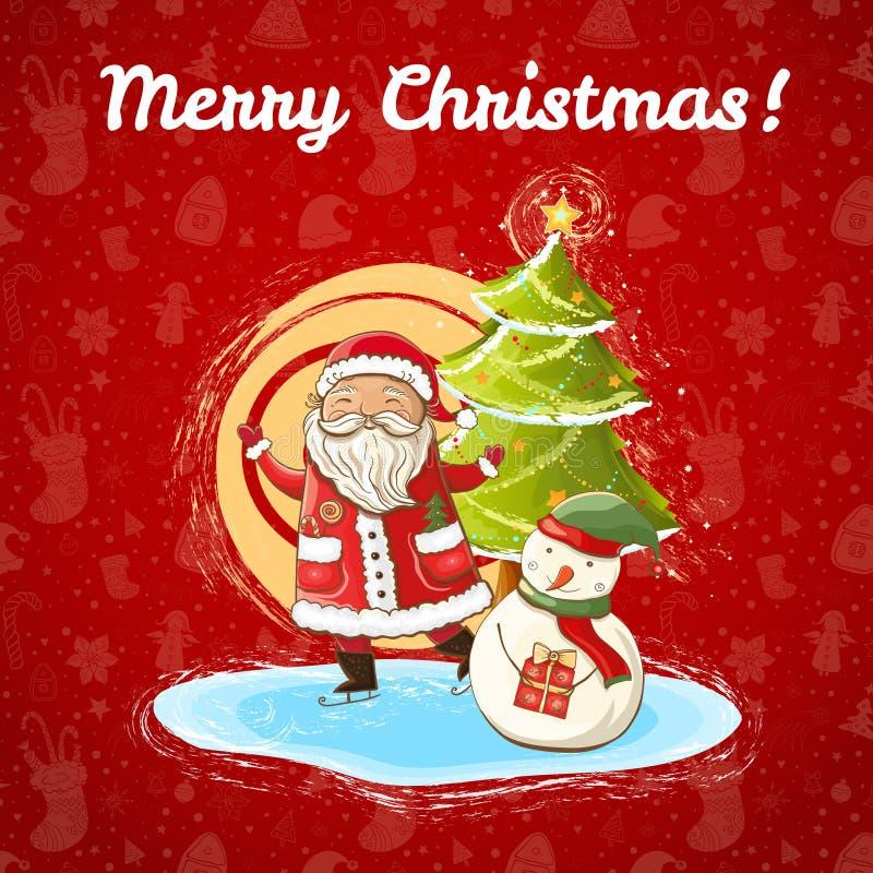 Vektorjulillustration av Santa Claus, snögubben och julgranen stock illustrationer