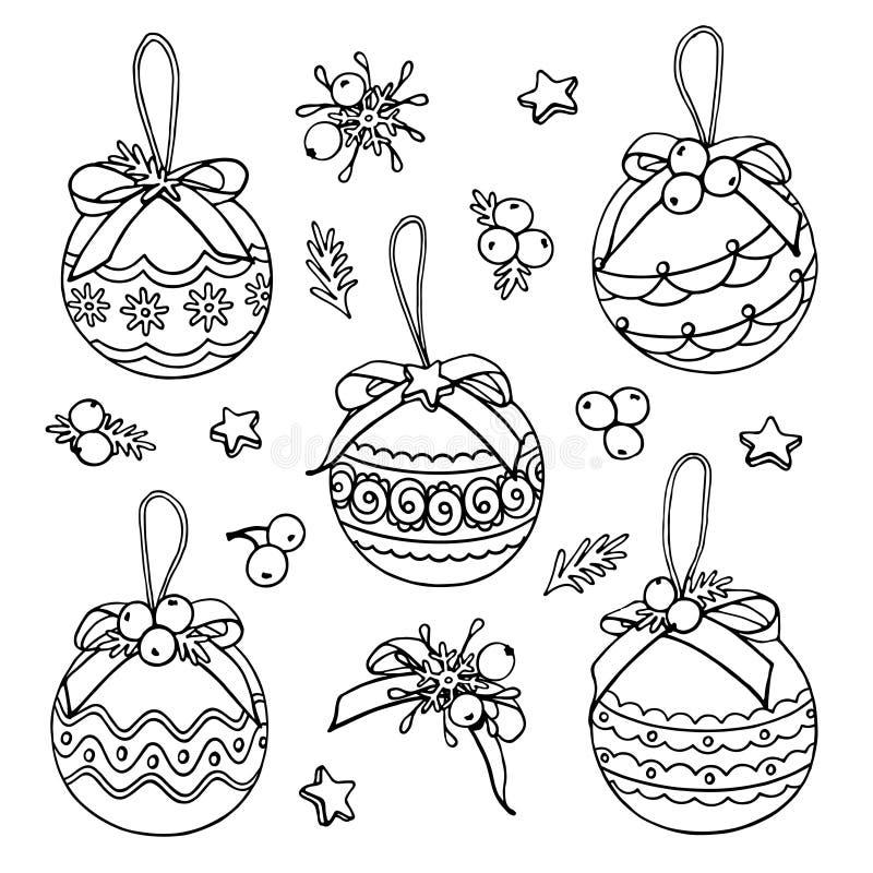 Vektorjulklotter med bollar, stjärnor och bär royaltyfri illustrationer