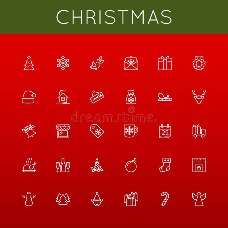 Vektorjullinje symboler vektor illustrationer