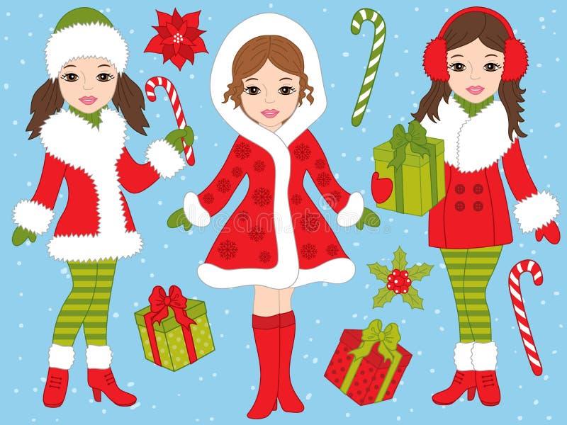 Vektorjuluppsättning med härliga flickor och Xmas-gåvor stock illustrationer