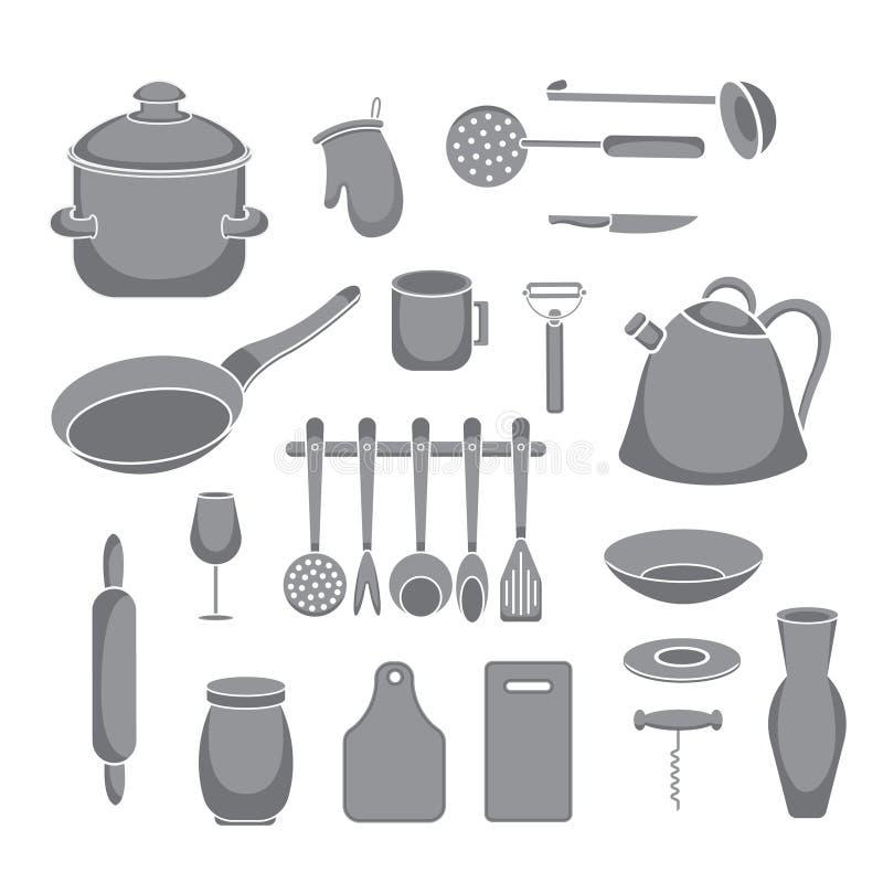 Vektorküchen-Werkzeugsatz Küchengeschirrsammlung vektor abbildung