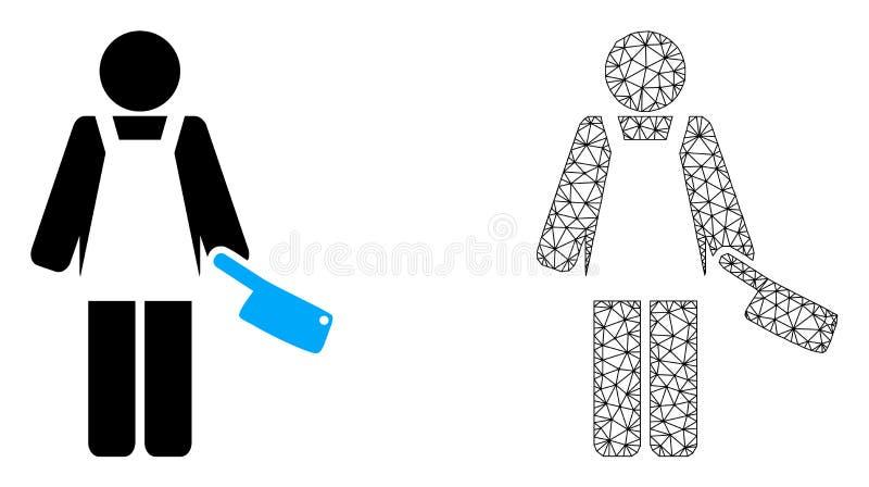 Vektorkadaver Mesh Butcher Person och plan symbol vektor illustrationer