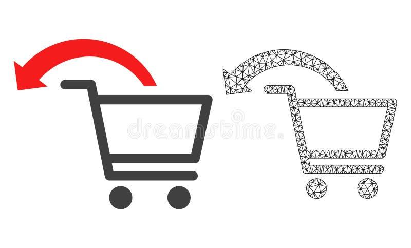 Vektorkadaver Mesh Cancel Shopping Order och plan symbol royaltyfri illustrationer