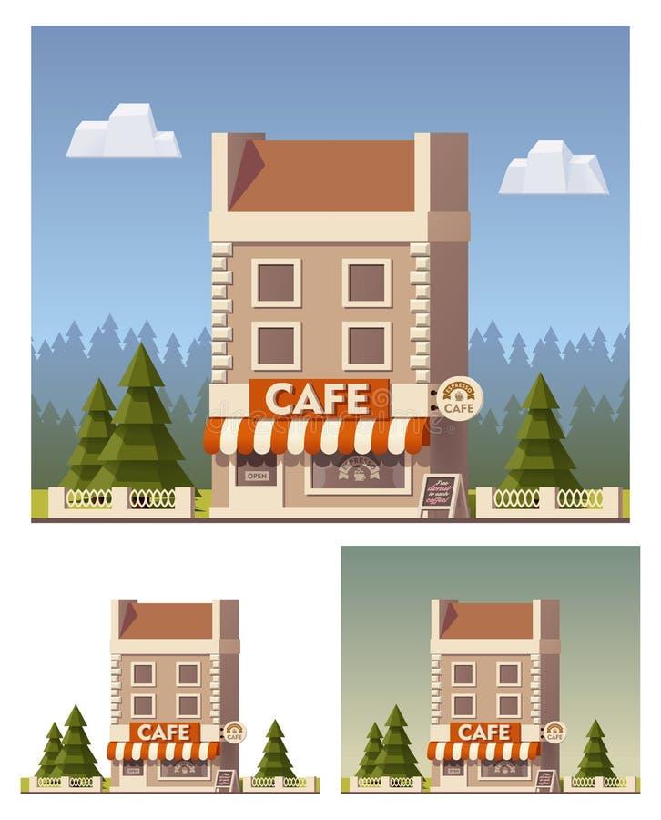 Vektorkafébyggnad vektor illustrationer