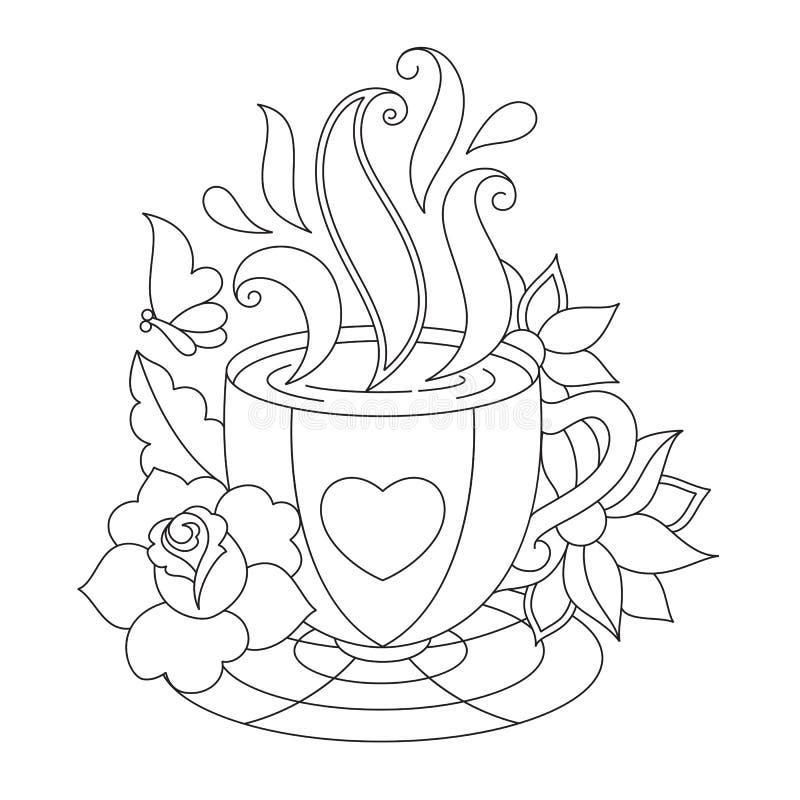 Vektorkaffe eller tekopp Färga sidor vektor illustrationer