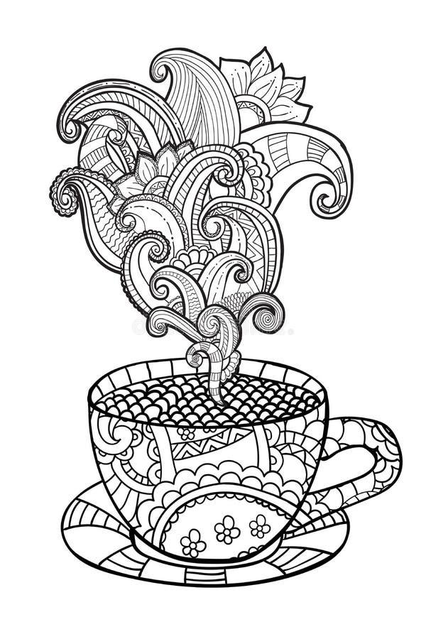 Vektorkaffe eller tekopp med abstrakta prydnader vektor illustrationer