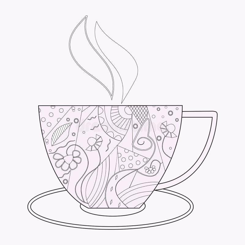 Vektorkaffe eller tekopp med abstrakta prydnader royaltyfri illustrationer