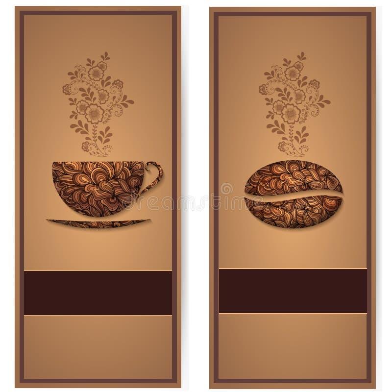Vektorkaffebakgrund med blom- modellbeståndsdelar stock illustrationer