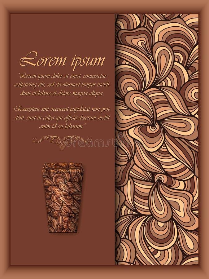 Vektorkaffebakgrund med blom- modellbeståndsdelar royaltyfri illustrationer