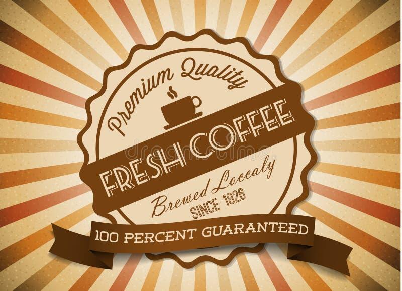 Vektorkaffee grunge Retro- Weinlesekennsatz lizenzfreie abbildung