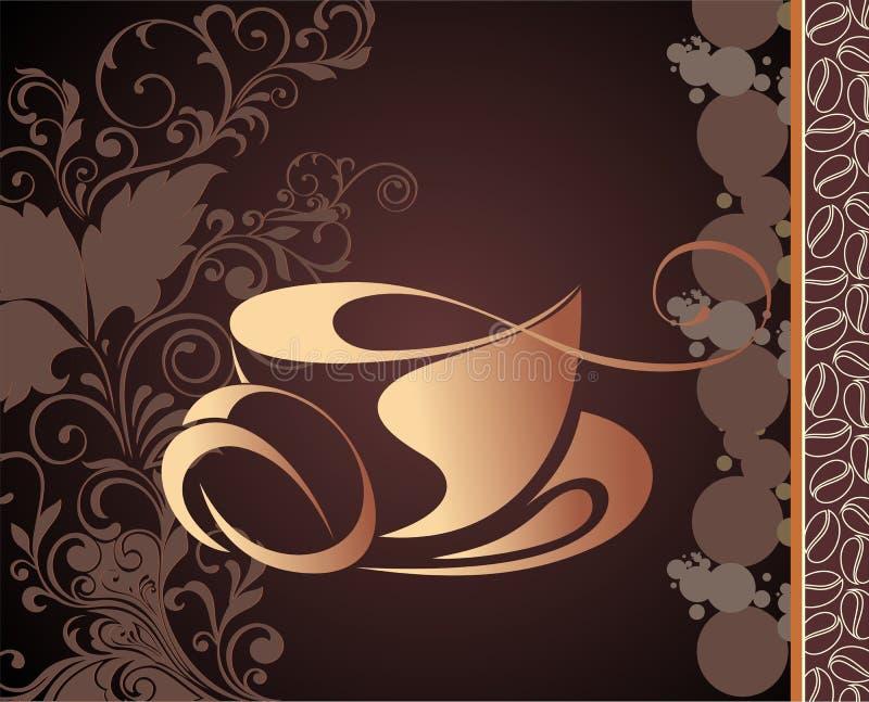Vektorkaffee, Teehintergrund lizenzfreie abbildung