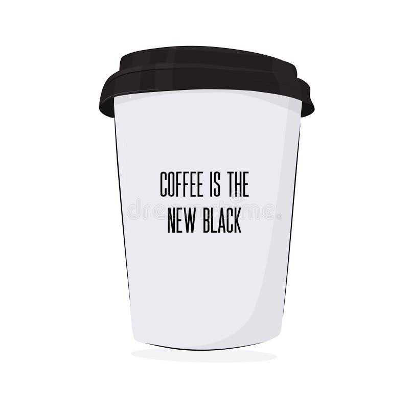 Vektorkaffee zum mitnehmen-Plakat Kaffee ist eine nes schwarze Illustration Heiße Getränkschale am besten morgens Papierbehälter  lizenzfreie abbildung