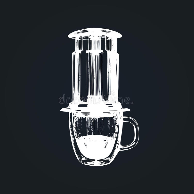 Vektorkaffeeproduzentillustration Hand skizzierte Gerät für alternatives Kaffeebrauverfahren Café, Restaurantmenüdesign lizenzfreie abbildung