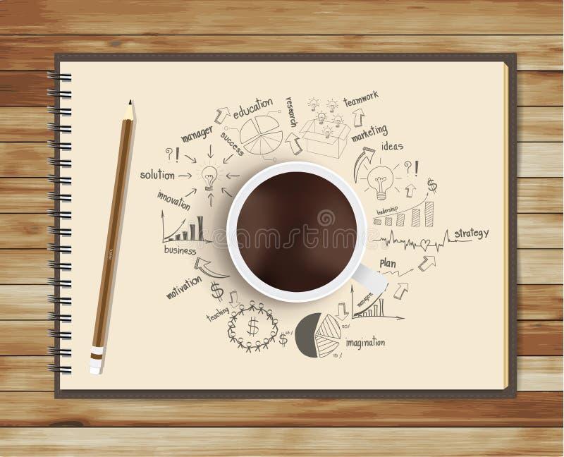 Vektorkaffekopp med anteckningsbok- och teckningsbusine stock illustrationer