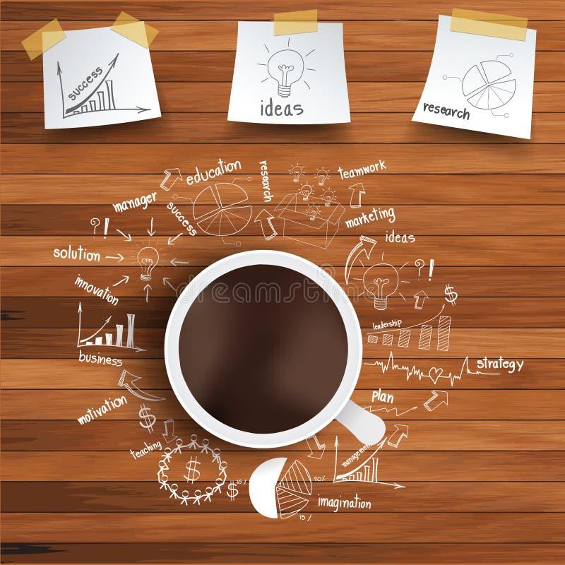 Vektorkaffekopp och affärsstrategi på trä  vektor illustrationer