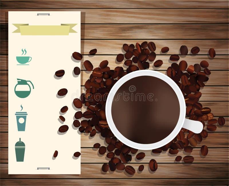Vektorkaffekopp på en trätabell stock illustrationer