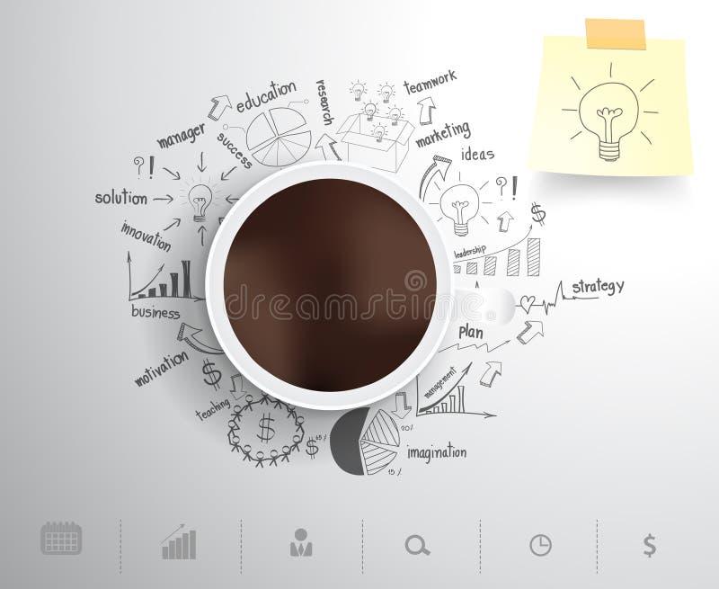 Vektorkaffekopp på plommoner för teckningsaffärsstrategi royaltyfri illustrationer