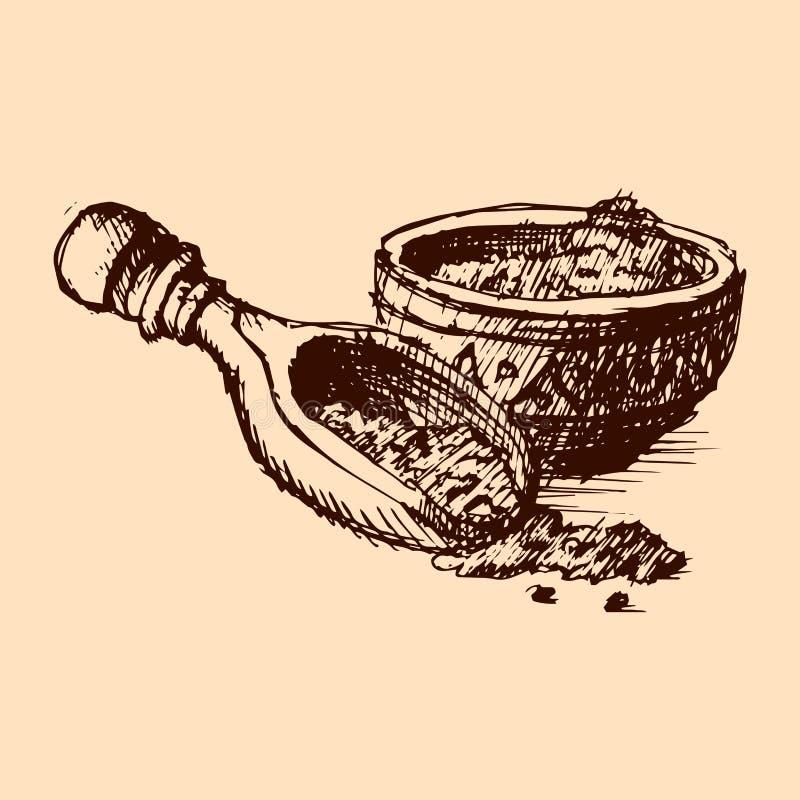 Vektorkakaopulver med den drog bönahanden skissar illustrationen vektor illustrationer