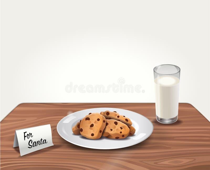 Vektorkakor och mjölkar för Santa Claus på tabellen stock illustrationer
