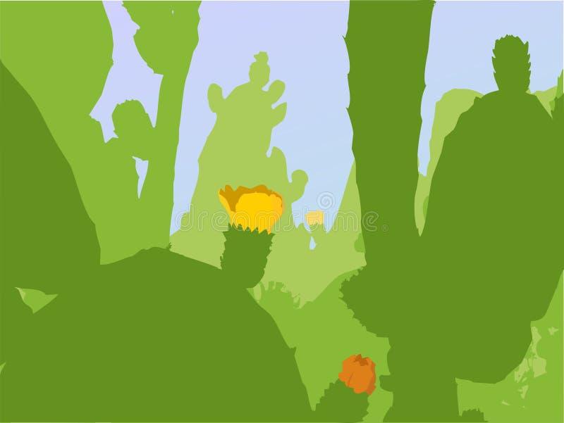 Vektorkaktuspflanzen mit Blüten stock abbildung