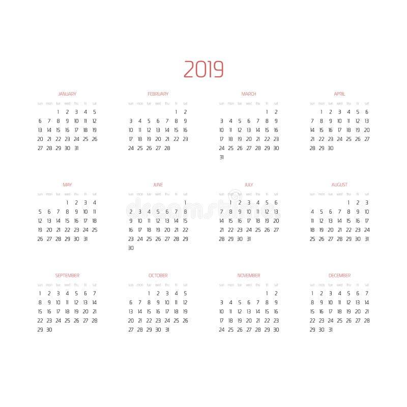 Vektorkalender - år 2019 Veckan startar från söndag Enkel plan vektorillustration med rödbruna titelrader stock illustrationer