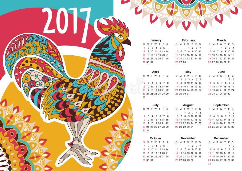 Vektorkalender 2017 färgrik rooster vektor illustrationer