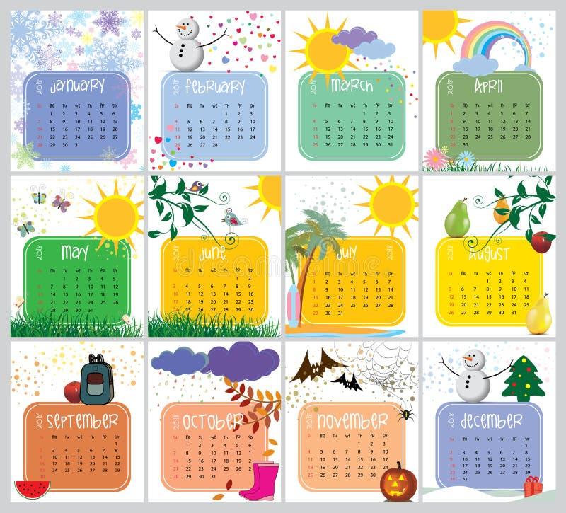 Vektorkalender för 2018 stock illustrationer