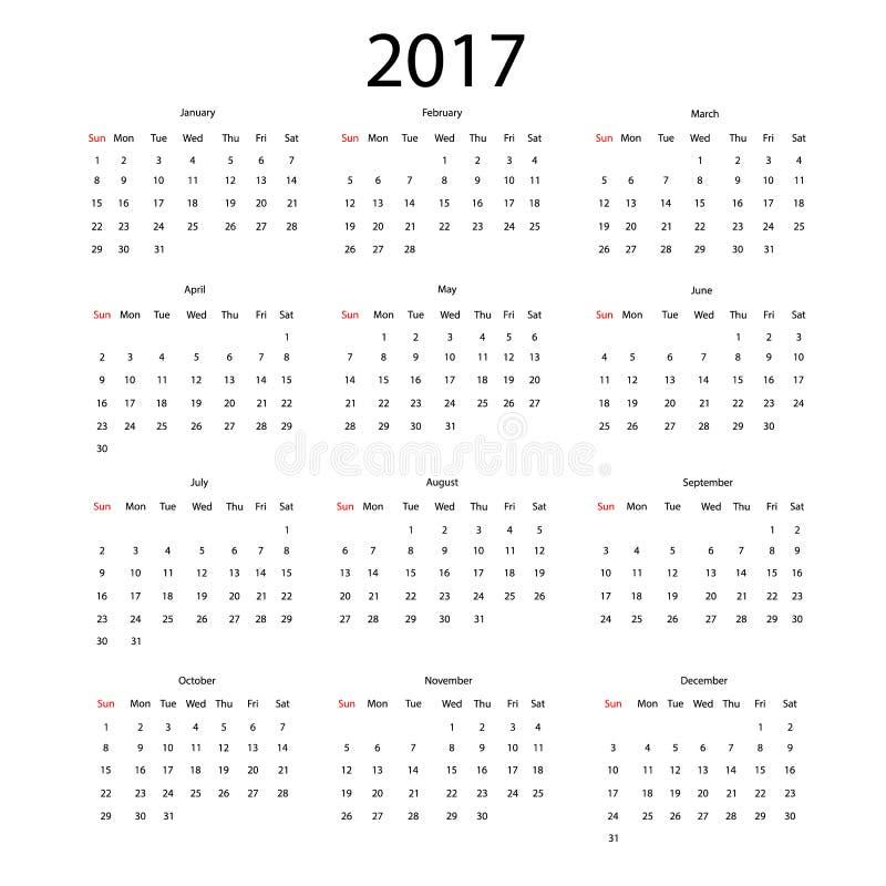 Vektorkalender för 2017 stock illustrationer
