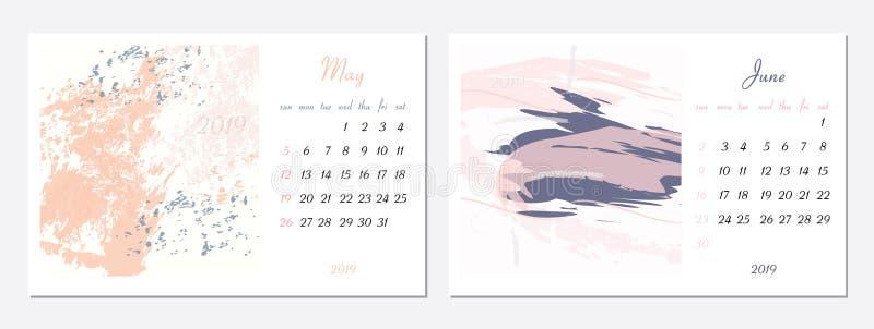 Vektorkalender f?r 2019 St?ll in av 2 m?nader, 2 utdragna texturer f?r hand Veckan startar s?ndag Kalender f?r vektormallen 2019 vektor illustrationer