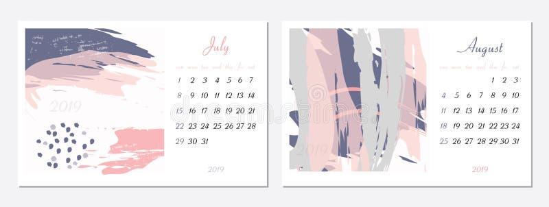 Vektorkalender f?r 2019 St?ll in av 2 m?nader, 2 utdragna texturer f?r hand Veckan startar s?ndag Kalender f?r vektormallen 2019 stock illustrationer