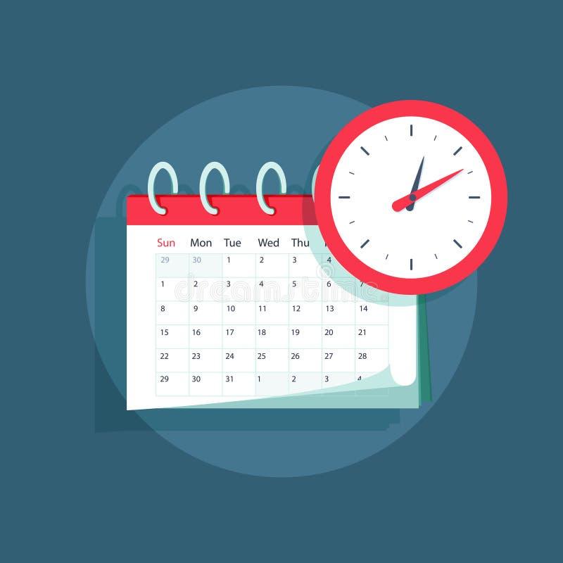 Vektorkalender och klockasymbol Schema tidsbeställning, viktigt datumbegrepp Modern plan designillustration royaltyfri illustrationer