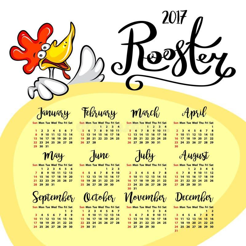 Vektorkalender 2017 Tupp - symbolet av det kinesiska nya året royaltyfri illustrationer