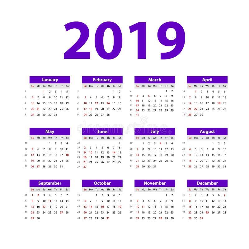 Vektorkalender 2019 violett Veckastarter på söndag Engelsk kalender nytt år enkel design för purpurfärgad färg royaltyfri illustrationer