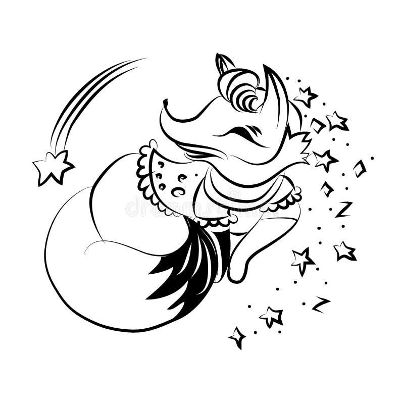Vektorkarikatur-Artillustration des Schlafenfuchses Getrennt auf wei?em Hintergrund Einfarbige Illustration in der Skizzenart vektor abbildung