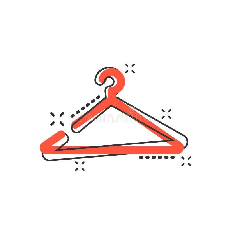 Vektorkarikatur-Aufhängerikone in der komischen Art Garderobe hander Zeichen stock abbildung