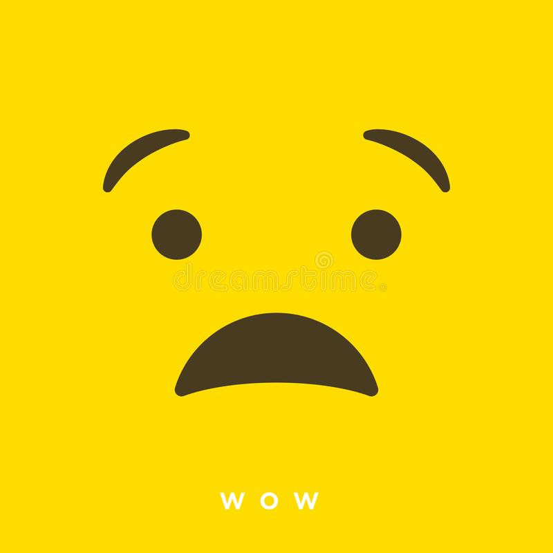 Vektorkarikatur der hohen Qualität mit wow Emoticons mit flacher Entwurfs-Art, Social Media-Reaktionen - Vektor EPS10 vektor abbildung