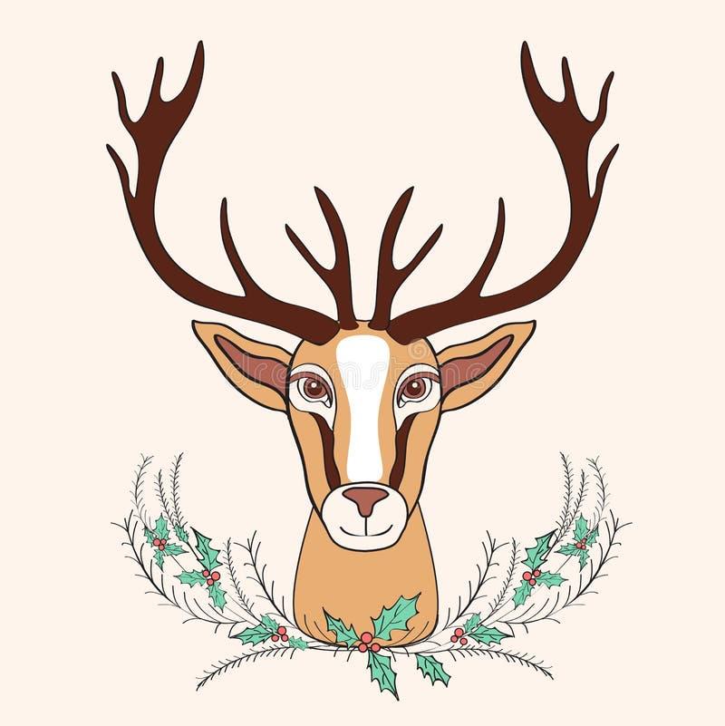 Vektorkarikatur-Gekritzelillustration der Feiertagsrotwild grafische Hand gezeichnete mit Blumenstraußstechpalme, wildes Tier mit stock abbildung