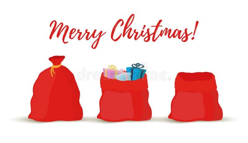 Vektorkarikatur-Geschenksäcke, Taschen von Santa Claus vektor abbildung