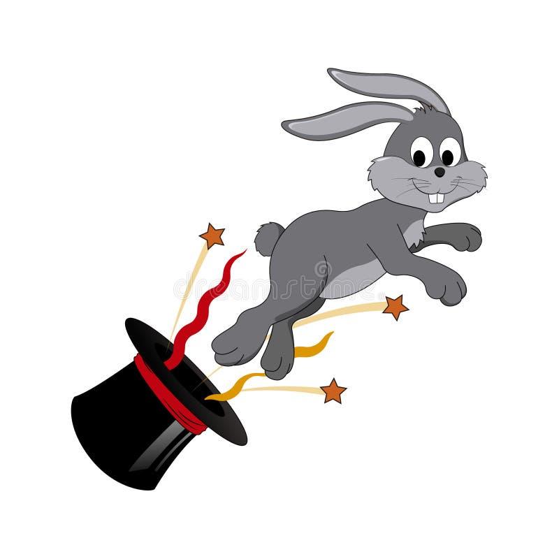 Vektorkarikatur - glückliches Kaninchenherausspringen des Zylinders stockbild