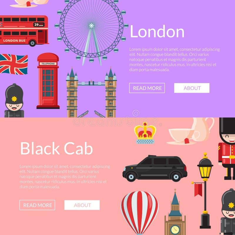 Vektorkarikatur London visiert Fahnenillustration an vektor abbildung