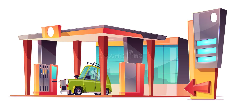 Vektorkarikatur-Tankstelle mit grünem Auto vektor abbildung