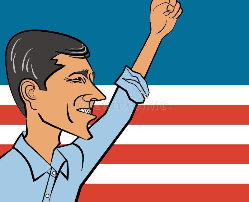 Vektorkarikatur von Beto O 'Rourke, letzter Kandidat für Texas-Senator und möglicher Kandidat 2020 für Präsidenten der Vereinigte lizenzfreie abbildung