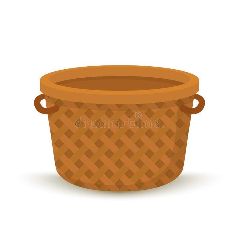 Vektorkarikatur-Weidenkorb, Behälter für Picknick lizenzfreie abbildung