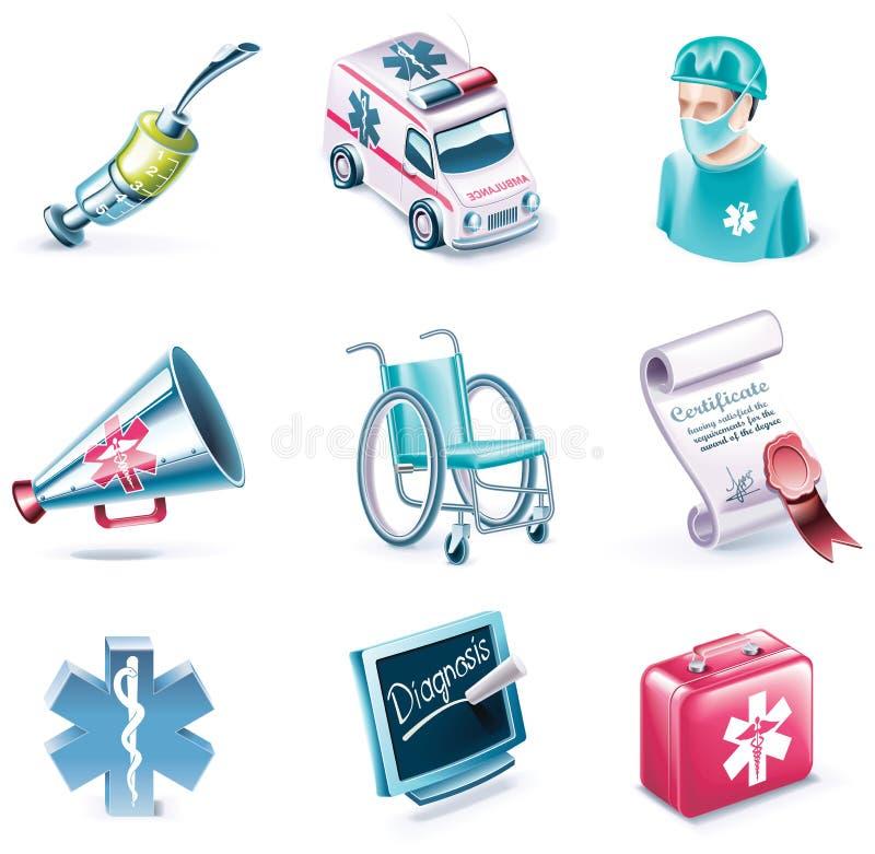 Vektorkarikaturart-Ikonenset. Teil 26. Medizin lizenzfreie abbildung