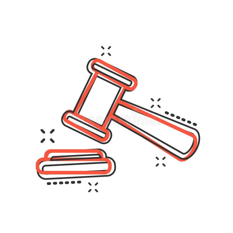Vektorkarikaturauktions-Hammerikone in der komischen Art Gericht tribuna lizenzfreie abbildung